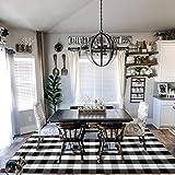 EARTHALL Cotton Buffalo Black and White Plaid Rug 5'x7', Hand-Woven Check Area Rug, Washable Check Rug Farmhouse/Kitchen/Fron