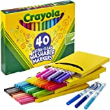 CRAYOLA 58-7861 40 Ultra-Clean Washable Markers, Fineline Markers, 40 Bold Colours, Super Washable, Long Lasting, Colouring &