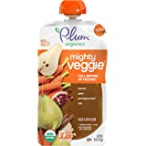 Plum Organics Mighty Veggie Carrot, Pear, Pomegranate & Oats, 4 Ounce Pouch (Pack of 12)