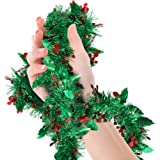 Treasures Gifted Mistletoe Christmas Garland Celebrate a Holiday Green Tinsel Garlands New Years Eve Indoor and Outdoor Tree
