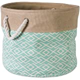 DII Collapsible Burlap Storage Basket or Bin with Durable Cotton Handles, Home Organizational Solution for Office, Bedroom, C