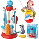 GINMIC Detachable Kids Cleaning Toy Set, Pretend Play Household Cleaning Tools - Includes Broom, Mop, Duster, Brush, Squirt B