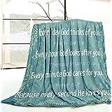 Bible Verse Blanket Inspirational Thoughts and Prayers- Religious Blankets Soft Lightweight Cozy Plush Warm Kids Men Women Gi