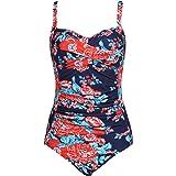 Ekouaer Womens Swimsuits Retro Elegant Ruffle One Piece Monokinis Bathing Suits XS-XL