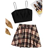 Romwe Women's 2 Piece Outfit Crop Cami Tops and Skater Skirts Set Dress