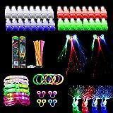 108pcs Glow Party Favors, Light Up Toys for Kids with 32 Led Finger Lights, 50 Glow Sticks, 6 Led Glasses, 6 Light Up Bracele
