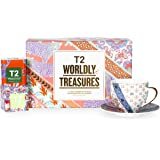 T2 Tea Tea and Teaware Giftpack: Wordly Treasure, Fine Bone China Cup and Saucer with 2 Mini Limited Edition Teabag Tins, 32