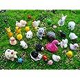 Kbraveo 45Pcs Mini Animals Miniature Ornament Kits Set for DIY,Fairy Garden Dollhouse Décor(Elephants,rabbits,hedgehogs,hens,