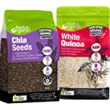 Absolute Organic Chia Seeds | Organic White Quinoa, Vegan, Complete plant protein, Superfood, Heart Healthy, Vegan, Kosher, G