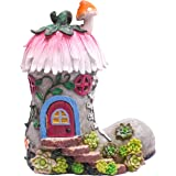 TERESA'S COLLECTIONS 8.8 Inch Garden Statues Fairy House - Boot, Solar Powered Garden Lights for Outdoor Patio Yard Decoratio