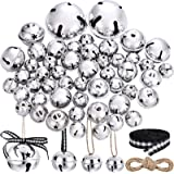 50 Pieces Jingle Bell with Star Cutouts Ornaments Metal Christmas Sleigh Bells Assorted Sizes for DIY Decoration Christmas Tr