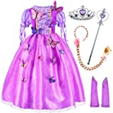 Long Hair Rapunzel Princess Costume For Girls Party Dress Up With Long Braid and Tiaras Set Age of 3-12 Years