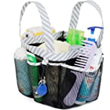 Mesh Shower Caddy Tote, Bathroom Bag Organiser with 2 Durable Handles and Key Hook, Quick Hold, 8 Basket Compartments