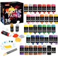 Acrylic Paint Set, Shuttle Art 36 Colors (60ml, 2oz) with 3 Brushes & 1 Palette, Craft Painting, Rich Pigments,Non-Toxic for