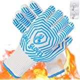 QUWIN BBQ Gloves, 1472°F Heat Resistant Grilling Gloves Silicone Non-Slip Oven Mitts, Kitchen Gloves for BBQ, Grilling, Cooki
