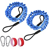 FIRINER Paddle Leash Set 2 Pack Stretchable Kayak Paddle Leash Tether with D-Shape Carabiner Bungee Leash Strap 1ft for Kayak