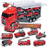 Coolplay 10 in 1 Fire Truck Toy Set for Kids, Mini Die-cast Car Toy, Transport Rescue Firetruck Ambulance Toy for 3- 6 Years