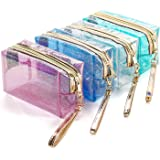 4Pcs Waterproof Cosmetic Bags PVC Transparent Zippered Toiletry Bag with Handle Strap Portable Clear Makeup Bag Pouch for Bat