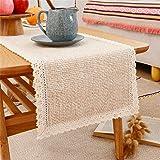 Macrame Table Runner, Rustic Farmhouse Cotton Linen Table Runner for Dining Room Dresser Farmhouse Decor, 12 x 48 Inch, Beige