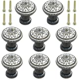 Geesatis 8 pcs Round Cabinet Pull Knobs for Drawer Jewelry Box Cabinet Cupboard Pull Handle with Mounting Screws (Bronze), Vi