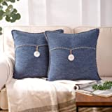 Phantoscope Set of 2 Single Shell Button Cotton Blend Throw Pillow Case Cushion Cover Navy Blue 18 x 18 inches 45 x 45 cm