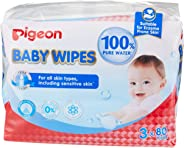 Pigeon Baby Wipes 80 Sheets Water Base, 3 In 1 Bag (Carton of 8 Bags)