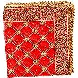 Orange Decorative Cloth Pooja Chunari (Size :- 18 Inches x 36 Inches) Chunni Puja Festival Decoration Chunr MATA Ki Chunri fo