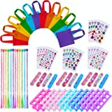 URATOT 72 Pieces Spa Party Supplies Multiple Spa Party Favors for Girls 12 Tote Bags, 24 Toe Separators,12 Emery Boards,12 Bo