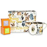 T2 Tea Tea and Teaware Giftpack: Paws for Tea- Cat Pack, Fine Bone China Mug with 2 Loose Leaf Tea in Box, Perfect for Pet Lo