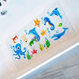 BeeHomee Cartoon Non Slip Bathtub Mat for Kids - 35x16 Inch XL Large Size Anti Slip Shower Mats for for Toddlers Children Bab