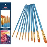 heartybay Paint Brushes Set 10pcs Round Pointed Tip Nylon Hair artist acrylic brush Watercolor Oil Painting
