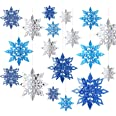 WILLBOND 18 Pieces 3D Hollow Christmas Winter Hanging Snowflakes Decorations Glittery Large Snowflake Pendant Garlands for Ch