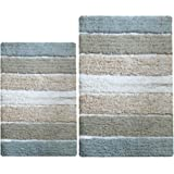 Chardin Home - 100% Pure Cotton - 2 Piece Cordural Stripe Bath Rug Set, (21''x34'' & 17''x24'') Gray-Beige
