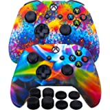 MXRC Silicone Rubber Cover Skin Case Anti-slip Water Transfer Customize Camouflage for Xbox One/S/X Controller x 2(Rainbow Pa
