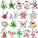 KAISHANE 18 Pieces Christmas Cookie Cutter Set - Snowflake, Christmas Tree, Gingerbread Man, Reindeer Angel,Snowman,Stocking