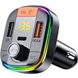 Oxlaw Bluetooth 5.0 FM Transmitter & Car Charger, Easy to Setup Smart Adapter Supporting Stereo Hi-Fi Quality Music, Hands-Fr