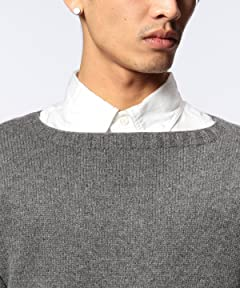 Wool Cashmere Boatneck Sweater 1113-199-3173: Grey