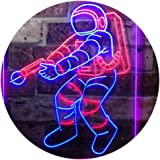 Astronaut Space Rocket Shuttle Kid Room Dual Color LED Neon Sign Red & Blue 300 x 400mm st6s34-i3136-rb