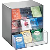 mDesign Plastic Kitchen Pantry, Cabinet, Countertop Organizer Storage with 3 Drawers for Coffee, Tea, Sugar Packets, Sweetene