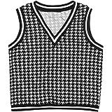 Verdusa Women's V Neck Sleeveless Tank Top Houndstooth Pullover Sweater Vest