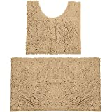 Bathroom Rugs Chenille Bath Mat Set, Soft Plush Non-Skid Shower Rug +Toilet Mat. (Marzipan)