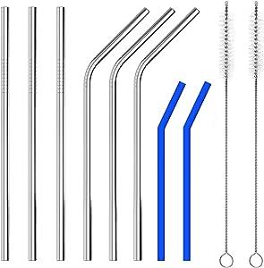 KPCB ステンレスストロー 6本 シリコン製2本 子供向け 再生利用可能なストロー 直径8mm