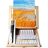 Tavolozza Wooden Mixed Media Art Set Easel Painting Kit with Wood Table Desk Top Easel Box Include Painting Board,Acylic Pain