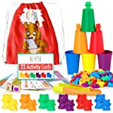 KipiPol Rainbow Counting Bears for Toddlers w Matching Sorting Cups – Number & Color Recognition Game – Educational Toys for