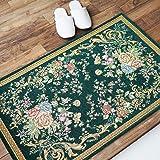 サヤンサヤン 洗える 花柄 玄関マット 室内 屋内 095 ゴブラン織 50x80 ダークグリーン