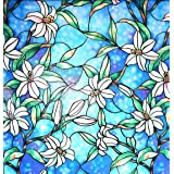 Arthome Stained Decorative Window Glass Privacy Films No Glue Non-Adhesive Self Frosted Static Cling Removable Anti UV for Ba