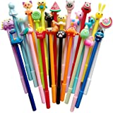 24 pack Cute Cartoon Gel Blue Ink Pens Assorted Style Writing Pens for Birthday Present School Prize Student Gift Fun Girl Pe