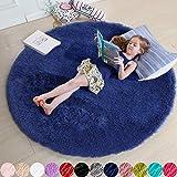 Navy Blue Rug for Bedroom,Fluffy Circle Rug 4'X4' for Kids Room,Furry Carpet for Teen's Room,Shaggy Throw Rug for Nursery Roo