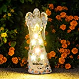 GIGALUMI Garden Angel Figurines Outdoor Decor, Garden Art Outdoor for Fall Winter Garden Decor,Outdoor Solar Statue with 6 LE