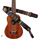 MUSIC FIRST Classic Country style Soft Cotton & Genuine Leather Ukulele Strap Ukulele Shoulder Strap Version 2.0 With a MUSIC